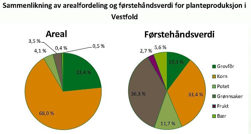 Fordeling av areal og førstehåndsverdi i planteproduksjonen i Vestfold