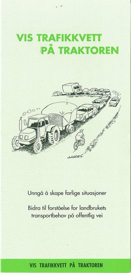 Trafikkvett på traktoren. Bilde.